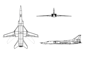 Orthographic projection of the Tupolev Tu-22M.